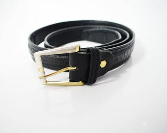 Aros Vintage Men's Leather Belt Black