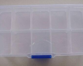 1 Casier plastique transparent 10 cases Rangement Boîtes séparations amovibles Loisirs créatifs perles mercerie