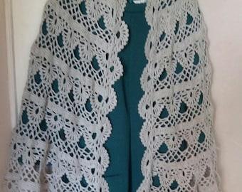 rounded shape light gray crochet shawl