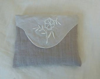 Pillow for lavender shabby old embroidery