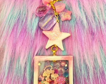 Kawaii Pink and White Liquid-filled Retro Polaroid Princess Shaker Purse charm