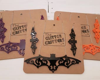 Large Bat Necklace And Earings Goth Jewellery, Laser Cut Acrylic, Black, Orange, Purple, Halloween