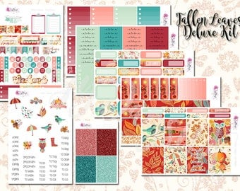 Fallen Leaves Deluxe Kit - Autumn/Fall Weekly Sticker Kit. Planner stickers for ECLP, Happy Planner, Personal Planner, TN etc