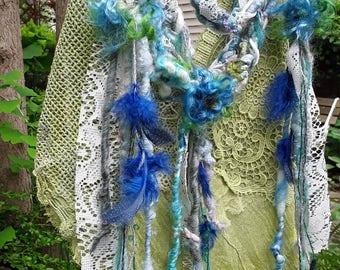 Woodland fairy lariat, belt,wool felted, boho ,fairy, mori girl, mystical flowing  , festival