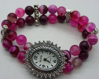 shown in 8 mm agate with a beautiful dial surrounded by rhinestones