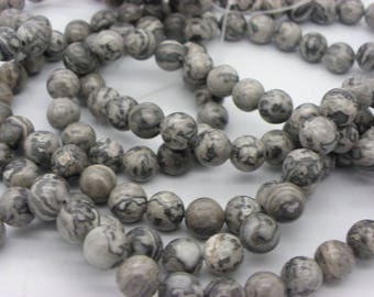 20 stones 8 mm, jaspe landscape grey and white, silver, black