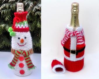 Crochet Covers for wine bottle - 2 pieces set - Christmas Cover bottle - Santa Claus Wine Bottle cover - Snowman Wine Bottle Holder