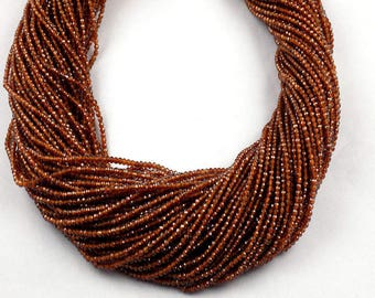 2 Strand Hessonite  Rondelle 2.10mm Micro Faceted Gemstone Beads 13 inch Long