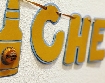 Cheers to 35 years; beer banner; bottlecap banner; milestone banner; Cheers banner