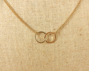 Linked Ring Necklace, Eternity Rings, Anniversary Gift for Partner
