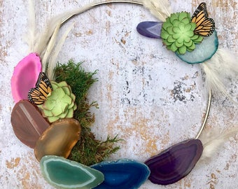 agate, moss, aura quarts and paper succulent rainbow boho wreath