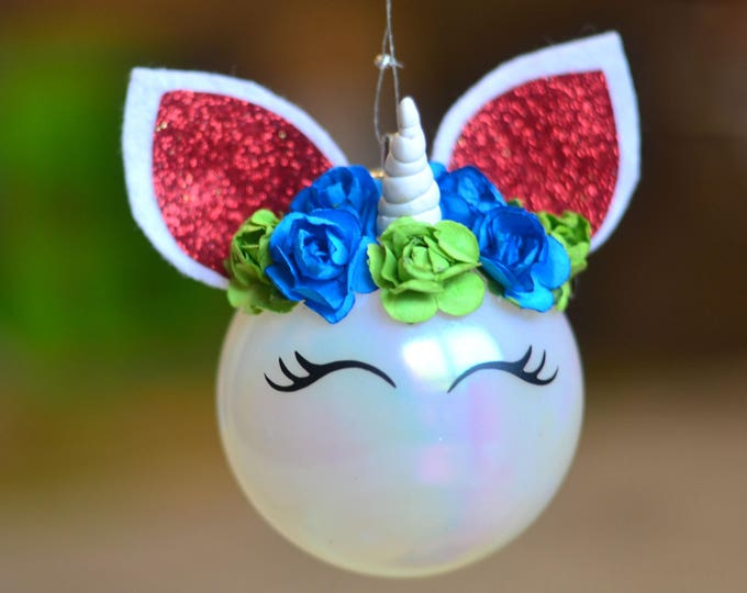 unicorn сhristmas ornament fairytale gift baby unicorn ornament сhristmas ball round unicorn ornament Christmas gift baby's first christmas