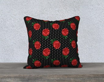 "18""x18"" - Throw Cushion Cover - Beautiful Australian Native Floral Print - Gorgeous Protea and Polka Dots"