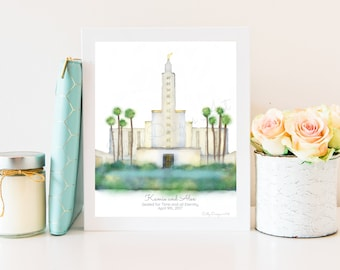 Los Angeles Temple, Personalize, Printable or Physical, Los Angeles Art Print, LDS Temple, LDS, Mormon, Temple Sealing, Gift, Endowments