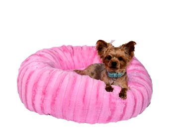 GLAMOROUS IN PINK:  Ultra Plush Soft Cuddle Pet Bed, Dog Bed, Cat Bed, Pet Furniture for Dog or Cat, Small and Medium Pet Bed