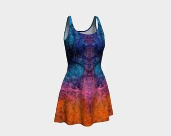 Shaman Mandala Flare Dress, Limited Edition Art Print Dress