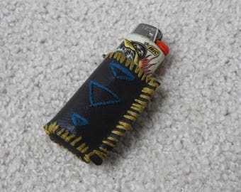 Handmade, stitched, faux leather lighter holder