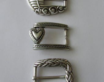 3 Vintage Silver Belt Buckles Heart, Noah's Ark  Design Metal Buckle Repurpose