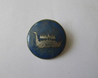 Vintage Sterling Siam Ship Pin Blue Enamel Brooch