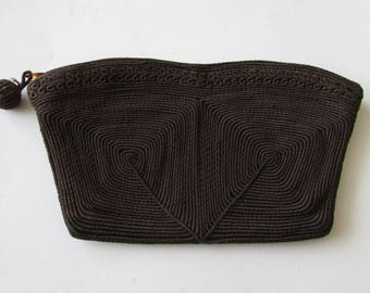 Vintage 40's Brown Corde Evening Bag Clutch Purse