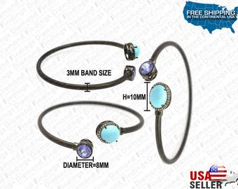Turquois, Tanzanite And Fancy Diamond Open Bangle Bracelet made with 925 Silver and Natural Diamonds, Diamond Findings, Blue unique Bangle