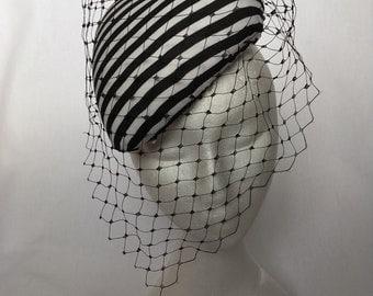 Black and white striped Pillbox hat