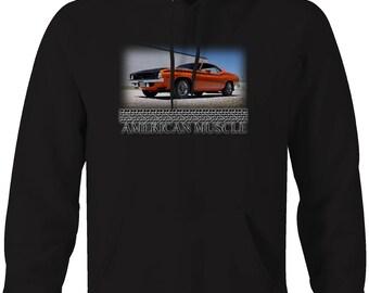 American Muscle Plymouth Baracuda Cuda Orange Black Hemi Hooded Sweatshirt- 5133