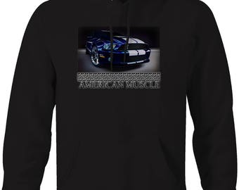 American Muscle Blue White Ford Mustang Shelby Cobra Hotrod Hooded Sweatshirt- 5142