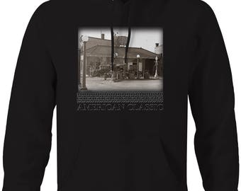 American Classic Service Station Model A T Gas Pumps Hooded Sweatshirt- 5506