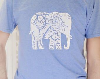 Light Blue Men's Elephant Tee-Shirt