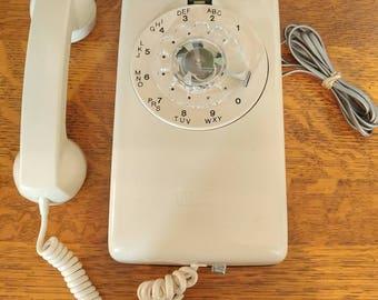 On hold for Sherri! Pristine Vintage Cream Northern Telecom Hanging Rotary Telephone