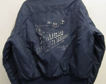 A Men's Vintage 80's,QUILTED Distressed WAUSUA,Wi Polar Bear Print Cafe Racer Jacket By SWiNGSTER.XL