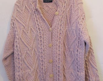 A Women's Vintage 90's,PRETTY Pink Cable Cardigan,Hand Knit Sweater,Made In ECUADOR.L