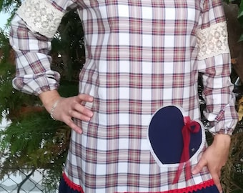 Lovely dress, plaid gown, women's dress, new collection, Handmade dress, girls dress, women's clothing, personalized clothing, Made in Portugal