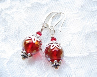Mother Gift for her Red earrings Dangle earrings Victorian earrings  Drop earrings Vintage Style earrings Victorian Jewelry Christmas gift