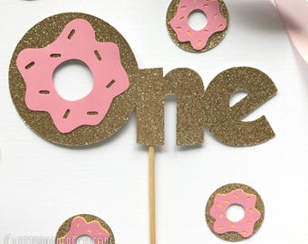 Donut cake toppet, first birthday party decor - donut grow up
