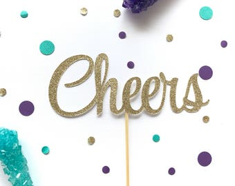 Cheers gold glitter  cake topper, bridal shower, engagement party, wedding cake topper, party decor