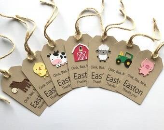 Farm animal tags, thank you, favor tags, gift tags, barnyard animals