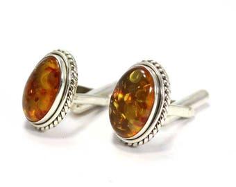 Handmade Amber 925 Sterling Silver Mens Cufflinks Jewelery by AmoreIndia C336