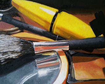 Oil painting still life of makeup items