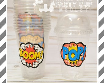 Super Hero Birthday Party Favor Cups with Dome Lids or Party Cups, Lids & Straws
