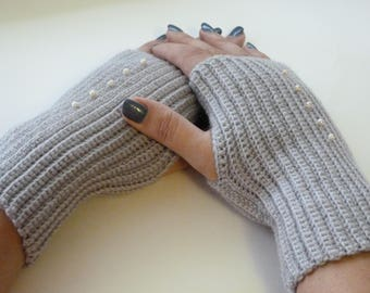 Mittens, knitted mittens, fingerless mittens, gray gloves, knitted gloves, handmade mittens, gift