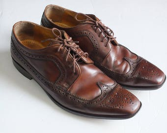 vtg. MERCANTI FIORENTINI wingtip brown leather oxford dress shoes men size 8M  Made in Italy