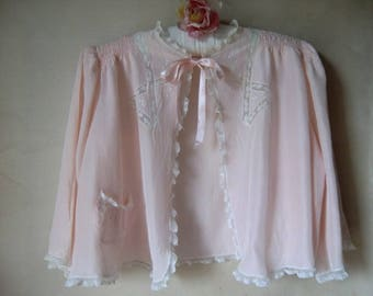Vintage lingerie Camisole peach bed jacket trousseaux by Terris small size