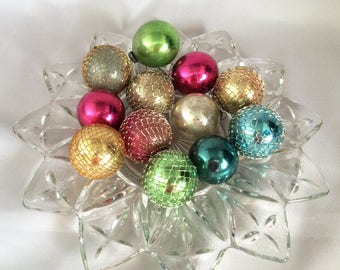 1930s Antique Vintage MERCURY GLASS Ornaments, Small Glass FEATHER Tree Ornaments, 12 in Original Box! 1930s Vintage Christmas Decorations