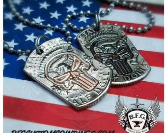 The Punisher  Engraved  Mini Dog Tag made from a Kennedy Half Dollar W/ 30 inch Stainless steel Ball Chain