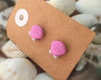 SALE Handmade Little Bits Earrings Baby Pink Sea Shells Stud Earrings w Polymer Clay Surgical Steel