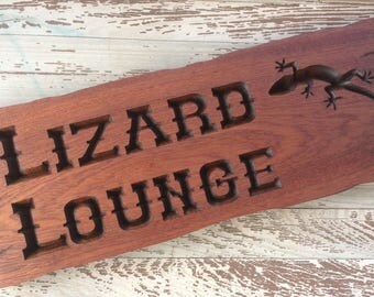Lizard Lounge Sign on Sepele with Rustic Edges