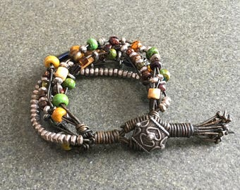 Leather Bead Bracelet, Bead Leather Jewelry, OAK jewelry, Handwoven Multi-strand Bead and Leather Bracelet