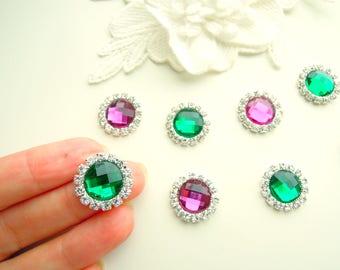 10 Rhinestone cabochons mixed colour 5 Emerald green + 5 Purple, crystal cabochons - Flatbback round rhinestones - Rhinestone resin cabochon